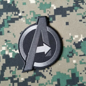 "AVENGERS 3.15"" EMBROIDERED HOOK PATCH MARVERL HULK CAPTAIN AMERICA ACU GRAY DARK"