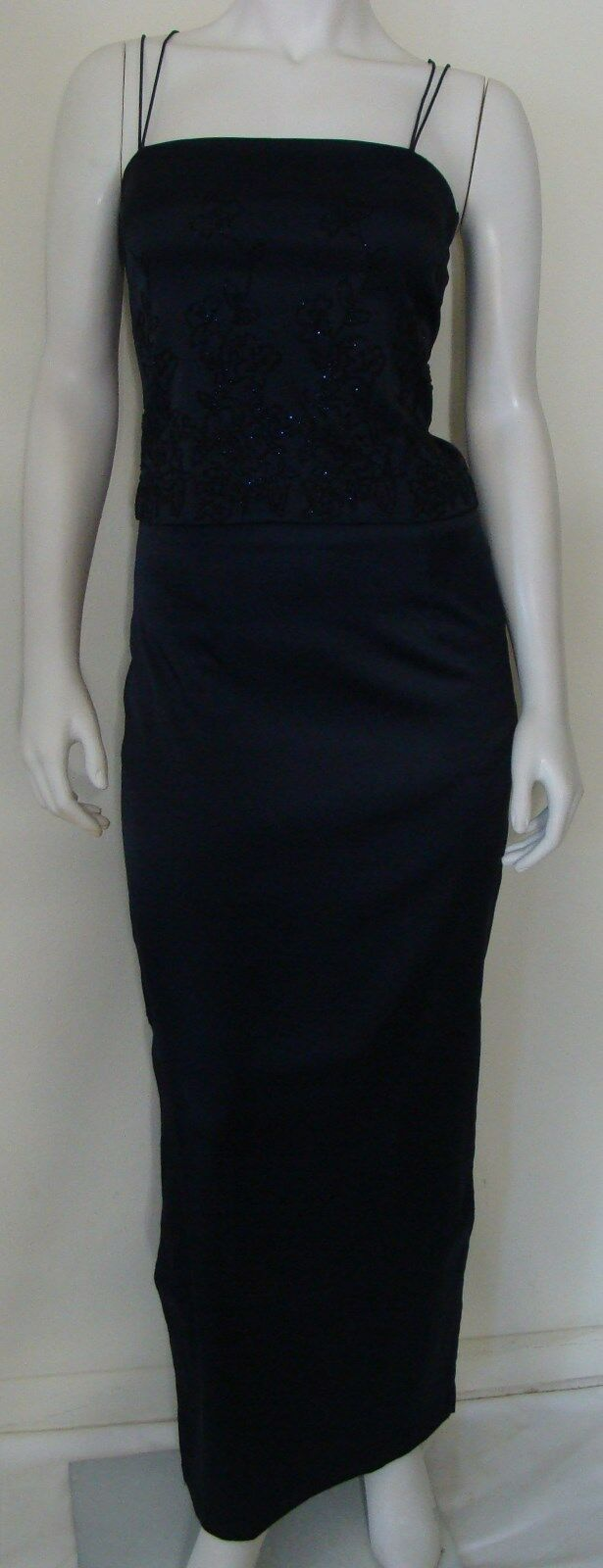IN SAN FRANCISCO Navy bluee Evening Beaded Top & Split Sides Long Skirt Size 5