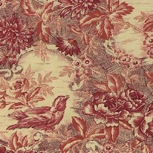 Fat Quarter Red Robins Nest Birds Christmas Cotton Quilting Sewing Fabric