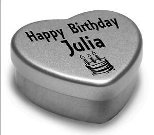 Happy Birthday Julia Mini Heart Tin Gift Present For Julia With