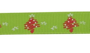 Grosgrain Christmas Tree and Star Ribbon , Light Green , app. 10mm x 5yrds