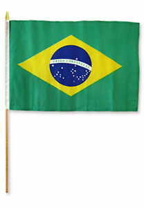 12x18 30.5cmx45.7cm Brésil Bâton Drapeau Bois Personnel