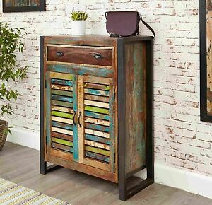 Agra Reclaimed Wood Furniture Shoe Storage Cabinet Cupboard Rack Ebay