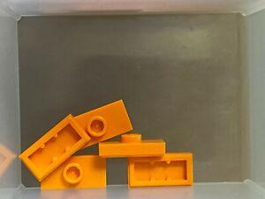 QTY 5 - No 15573 LEGO Parts Jumper Orange Plate 1 x 2 w 1 Stud