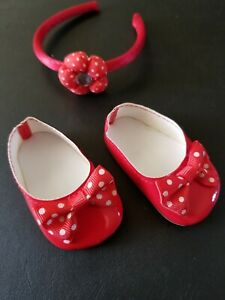 Pair of Blue Ballet Flats with Polka Dots Shoes for 18 Inch Dolls