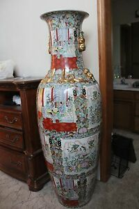 Chinese Dynasty Imperial Vases Set Of 2 Each 5 Foot Tall Ebay