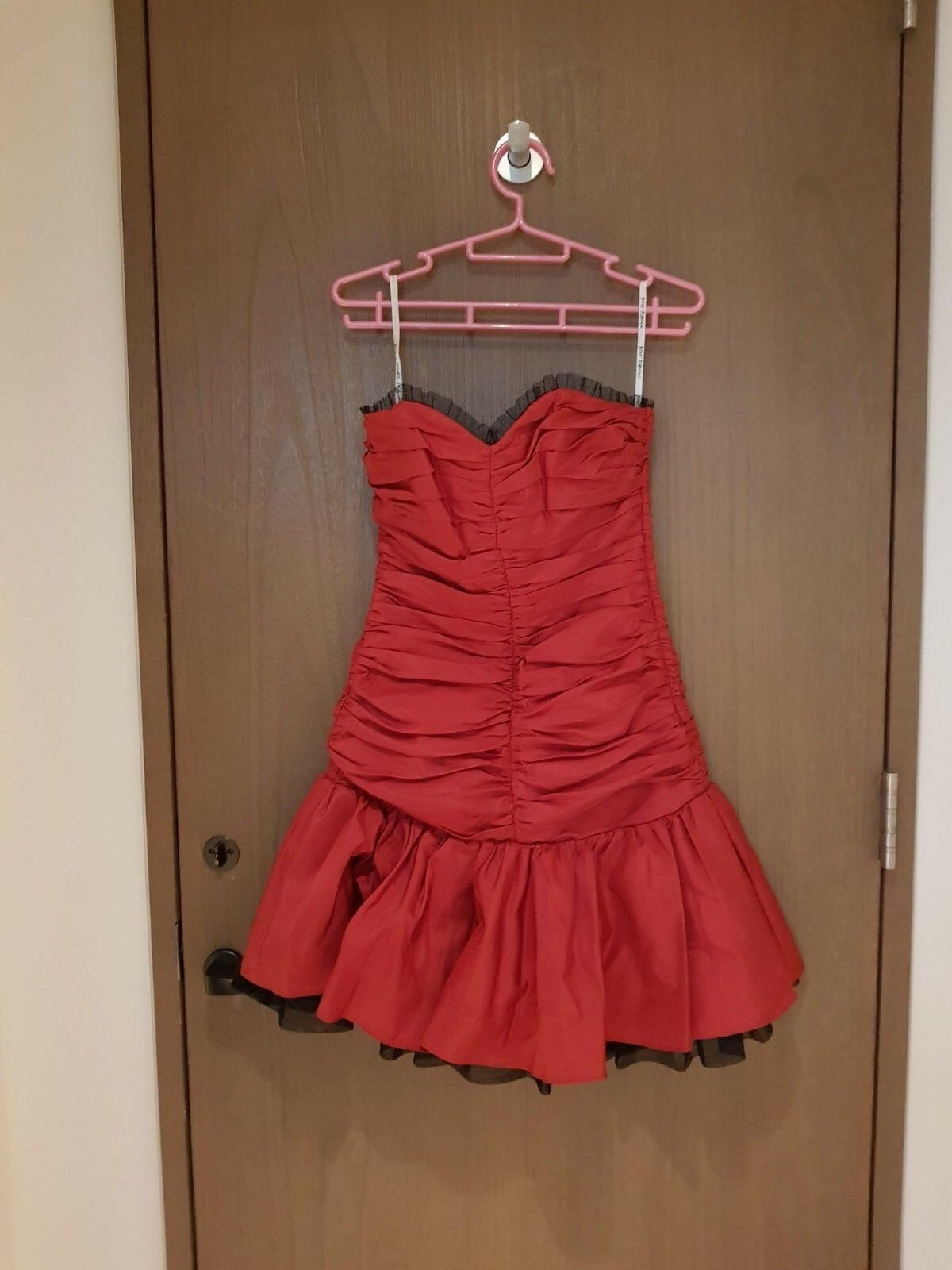 NWT Auth Betsey Johnson Red Lace Ruffle Corset Bustier Tulle Dress sz.4