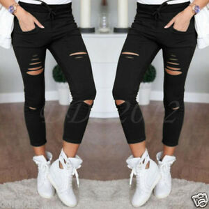 Women-Denim-Skinny-Ripped-Pants-High-Waist-Stretch-Jeans-Slim-Pencil-Trousers