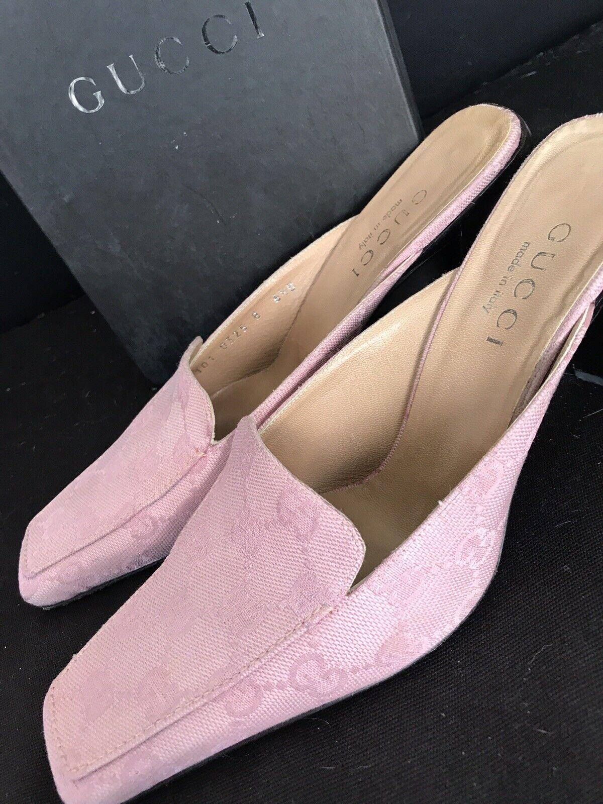 Vintage GUCCI GG Canvas Mule Classic Shoes Rosa W… - image 1