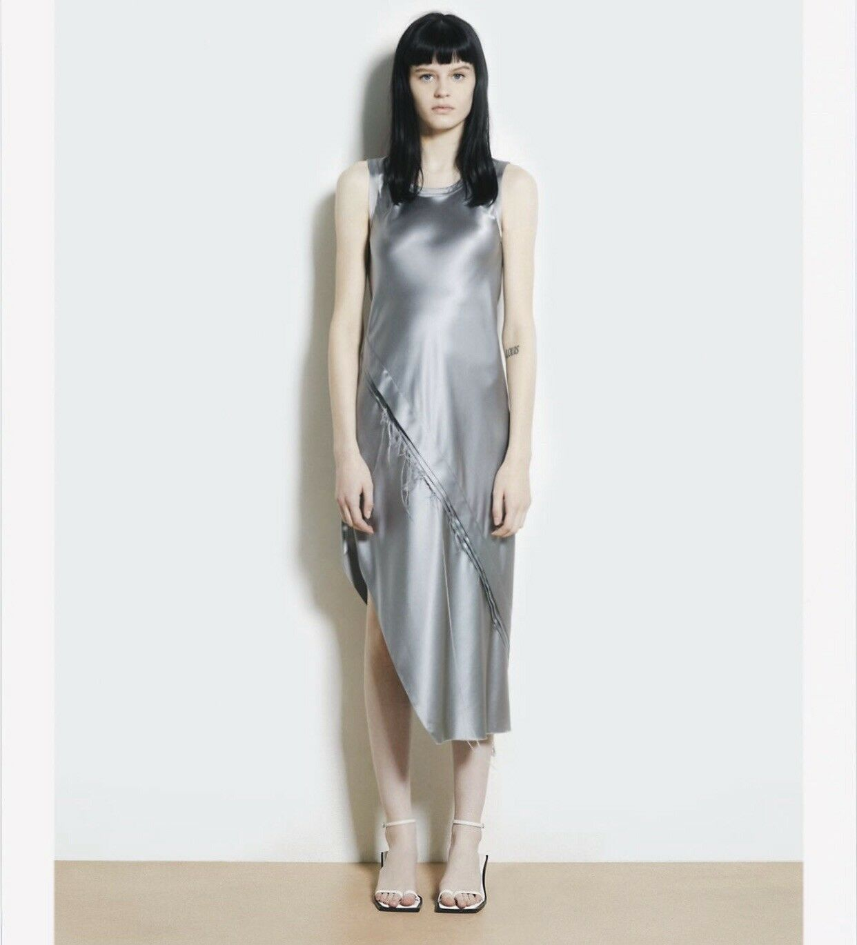 Helmut Lang Asymmetrical Jacquered Silk Slip Dress Size M  520