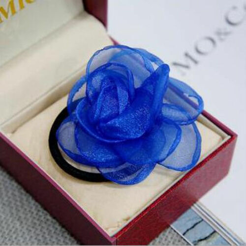 Fabric Flower Hair Band Ties Elastic Rope Ring Hairband Ponytail Holder Black
