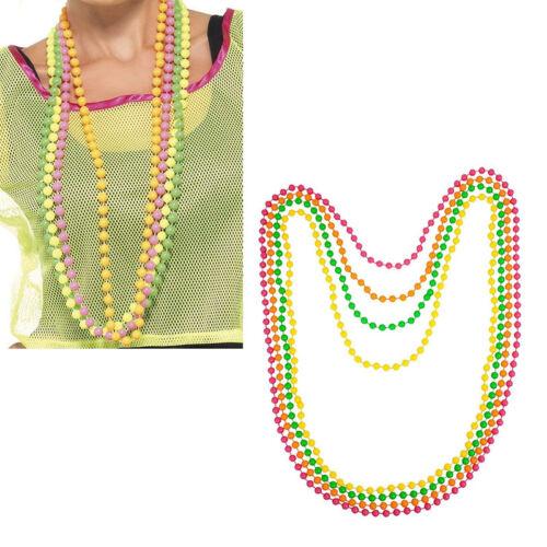 4pcs Dress Accessory Neon Metallic Plastic Beads Long Necklace 70s /& 80s Shan