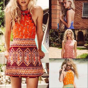 44b7147116 Image is loading Women-Boho-Halter-Sleeveless-Printed-Short-Mini-Dress-