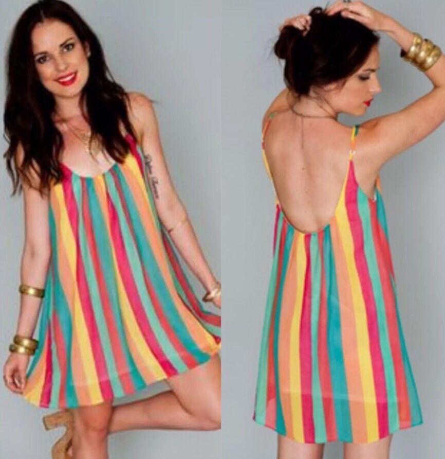 Show Me Your Mumu Rainbow Stripe Mini Dress Sz L NWT