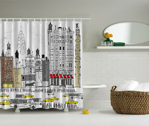 New york city skyline bus taxi cab water silo bathroom for New york city bathroom decor