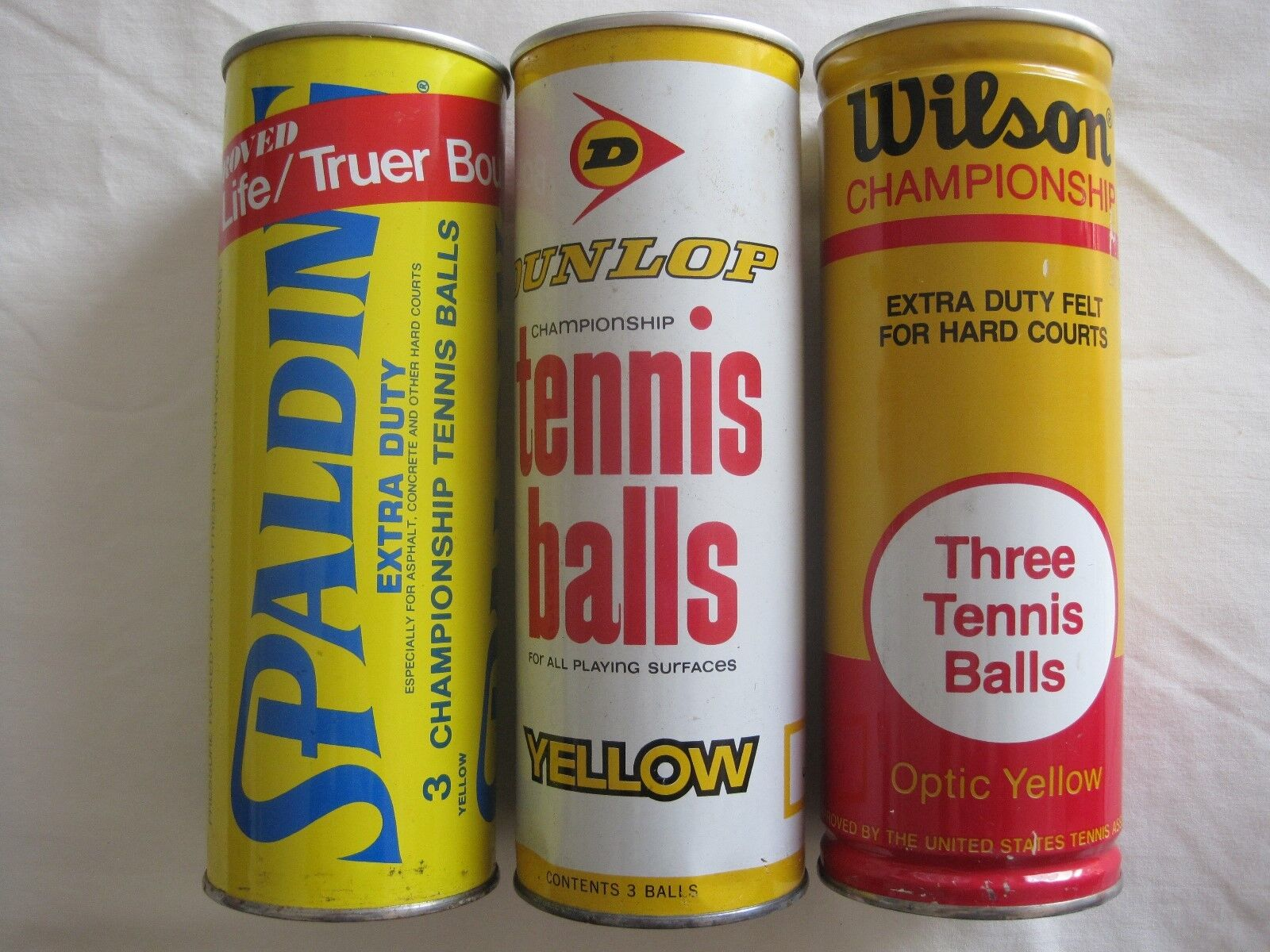 Vtg tennis ball cans spalding,wilson and dunlop ALL SEALED