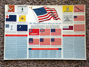Vintage-USA-AMERICAN-FLAG-Chart-by-GM-SUPER-SERVICE-copyright-1958-RARE
