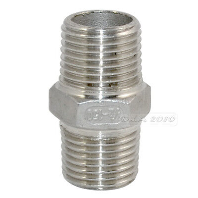 """1/2"""" Male x 1/2""""  Male Hex Nipple SS 304 Threaded Pipe Fitting NPT megairon"""