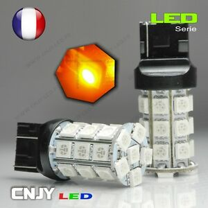 2 AMPOULES CNJY 27 LED SMD CULOT T20 W21/5W 7443 3157 ORANGE HID XENON AUTO 12V