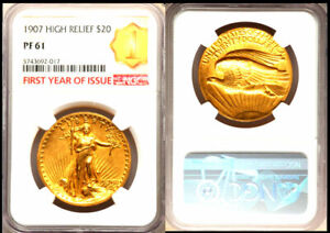 1907 $20 High Relief-Lettered Edge PR61 NGC-RARE FIRST YEAR OF ISSUE