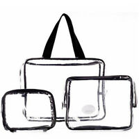 3 in 1 Clear Transparent Plastic PVC Travel Cosmetic Make Up Toiletry Bag Zipper