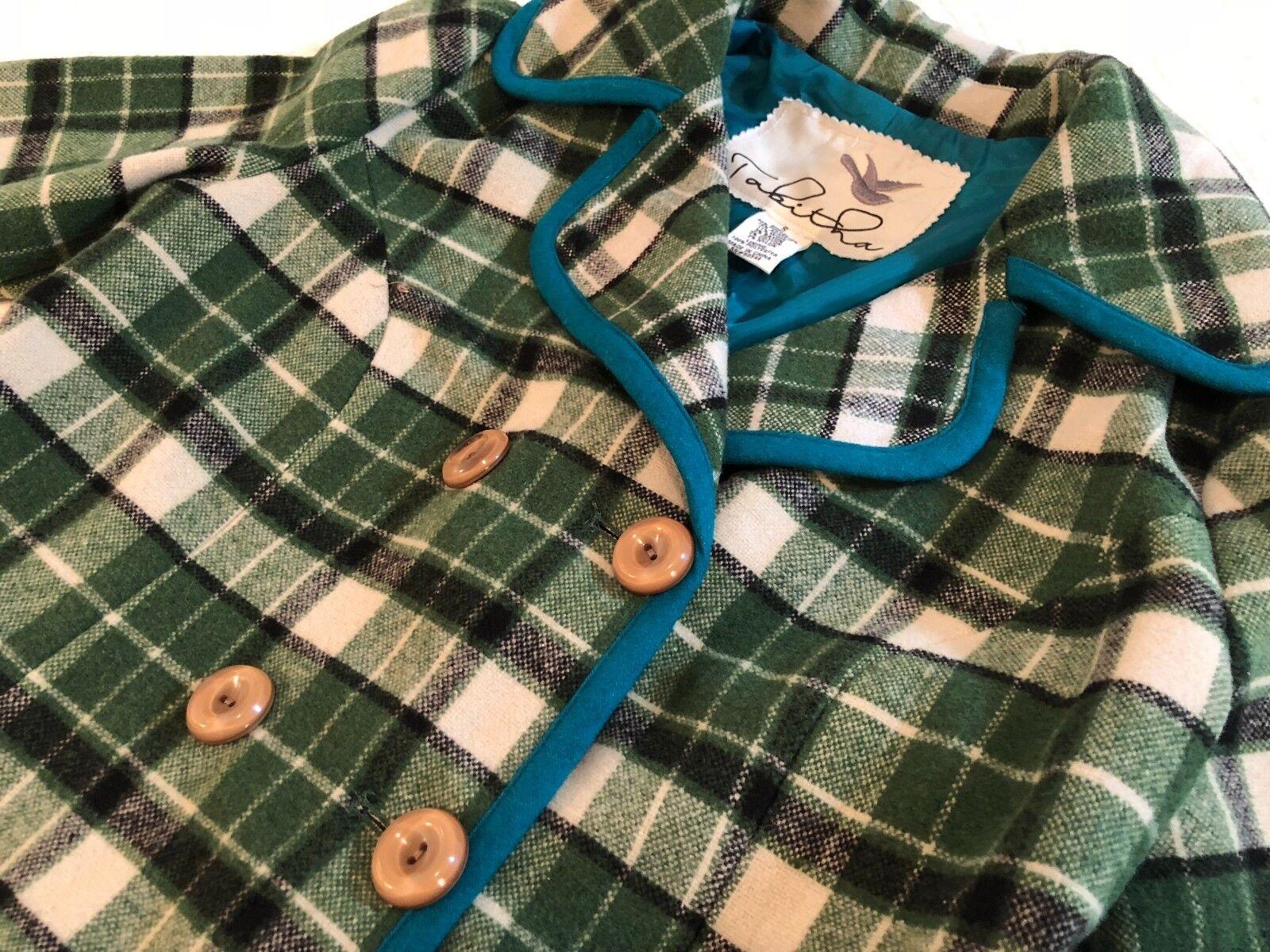 Super Cute Anthropologie Tabitha Green Plaid Plaid Plaid Coat Size S 1e47bd
