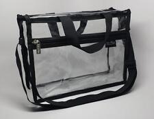 DELUVA BP005 Clear Vinyl Cosmetic Bag 11x8x4 w/handles, organize, makeup, travel