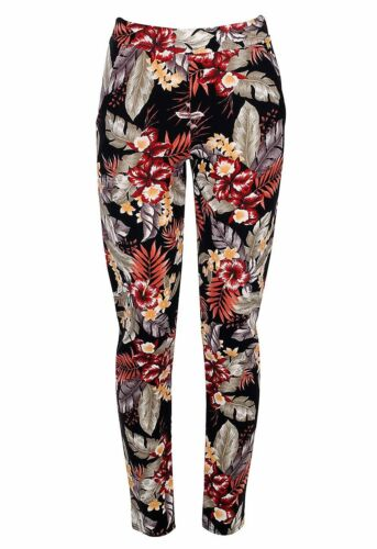 Ladies Womens Celebrity Full Length Floral Print Summer Tropical Crepe Trousers
