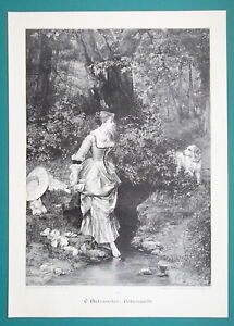 LOVELY-GIRL-in-Forest-Stream-to-Bath-Surprised-by-Dog-VICTORIAN-Era-Print