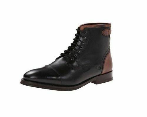 botas para hombre hecho a mano Negro y Marrón Cuero Con Cordones Puntera Alta Tobillo Zapato Formal