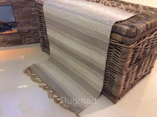 Stripe Natural Cream Grey Eco Friendly Cotton Jute Reversible Washable Kilim Rug