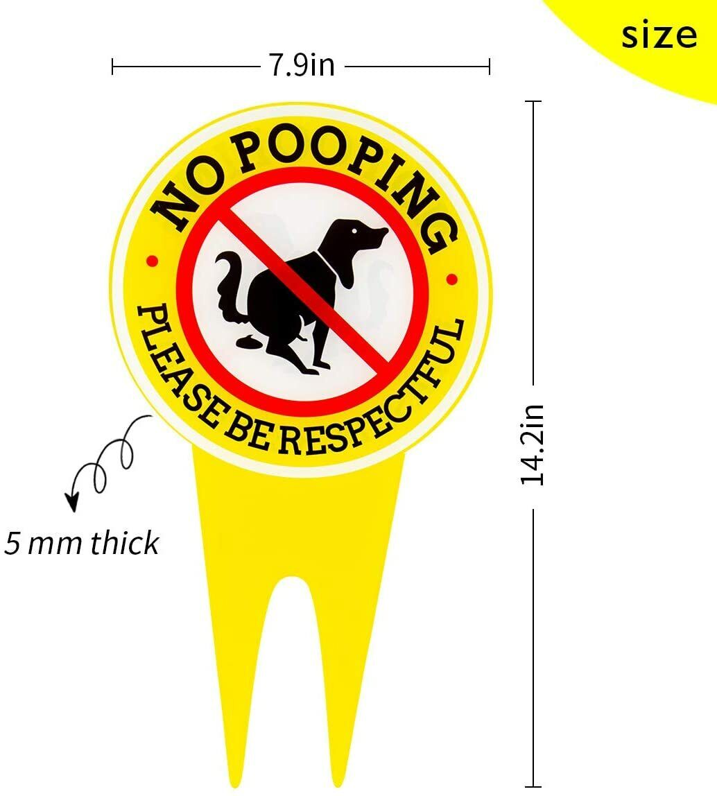14.2 x 7.9 Inches Double Sided No Pooping Dog Signs - Waterproof yellow sign