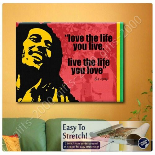 Rolled Wall art Bob Marley Quotes Love The Life #1 by Alonline DSNCanvas