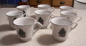 Set-fo-8-Footed-Tea-Coffee-Cup-6-Oz-Noel-Morning-pattern-Gibson-Designs-EUC