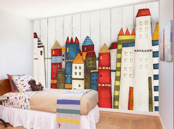 3D House Farbe 4018 Wallpaper Murals Wall Print Wallpaper Mural AJ WALL UK Lemon