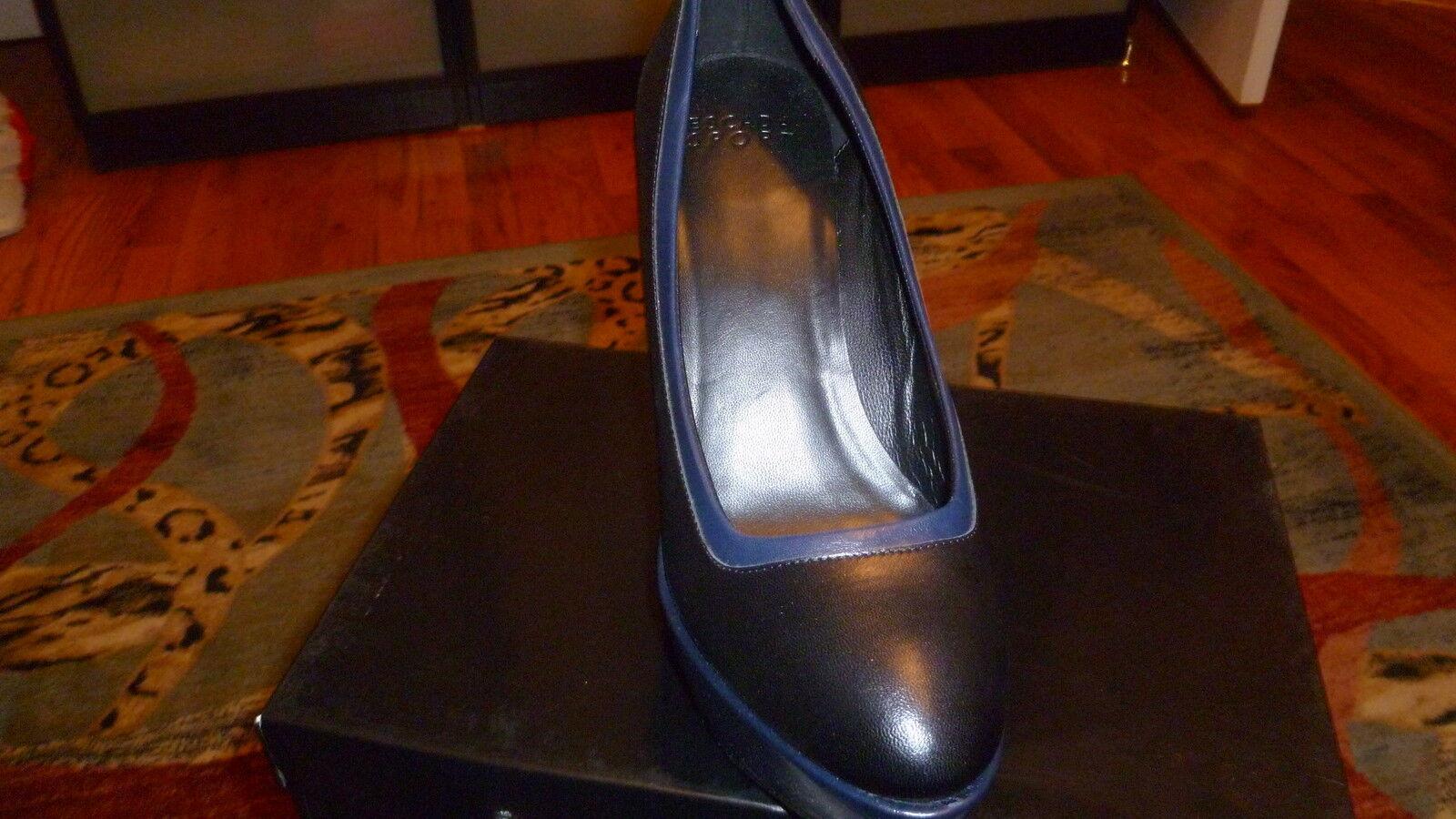 Nuevo En Caja Escada Sport Tacón Alto Plataforma Cuñas De Talla Cuero Negro Zapatos Talla De 40 EE. UU. 10. c439c1