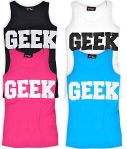 Girls Geek Vest Top Kids Tops Pink Black White New Age 7 8 9 10 11 12 13 Years