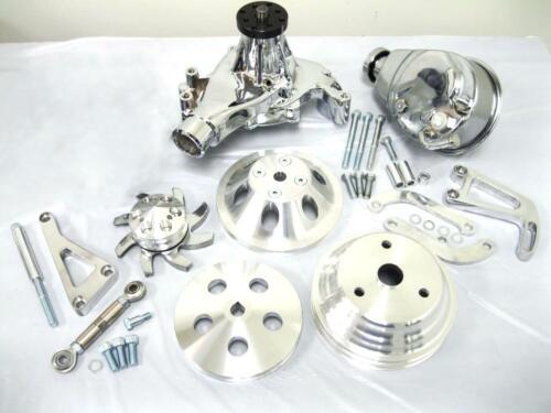 Small Block Chevy Aluminum Pulley /& Bracket Kit w Power Steering Long Water Pump