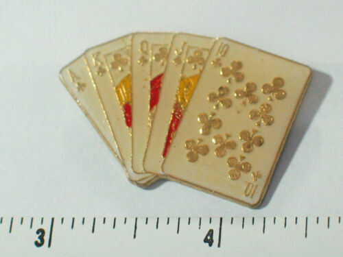 Royal Straight Flush Poker Pin , Vintage Lucky Poker Hand in Clubs