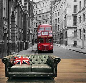 Rojo-Londres-City-Bus-Papel-Pintado-Foto-Mural-Pared-335x236cm-negro-y-blanco