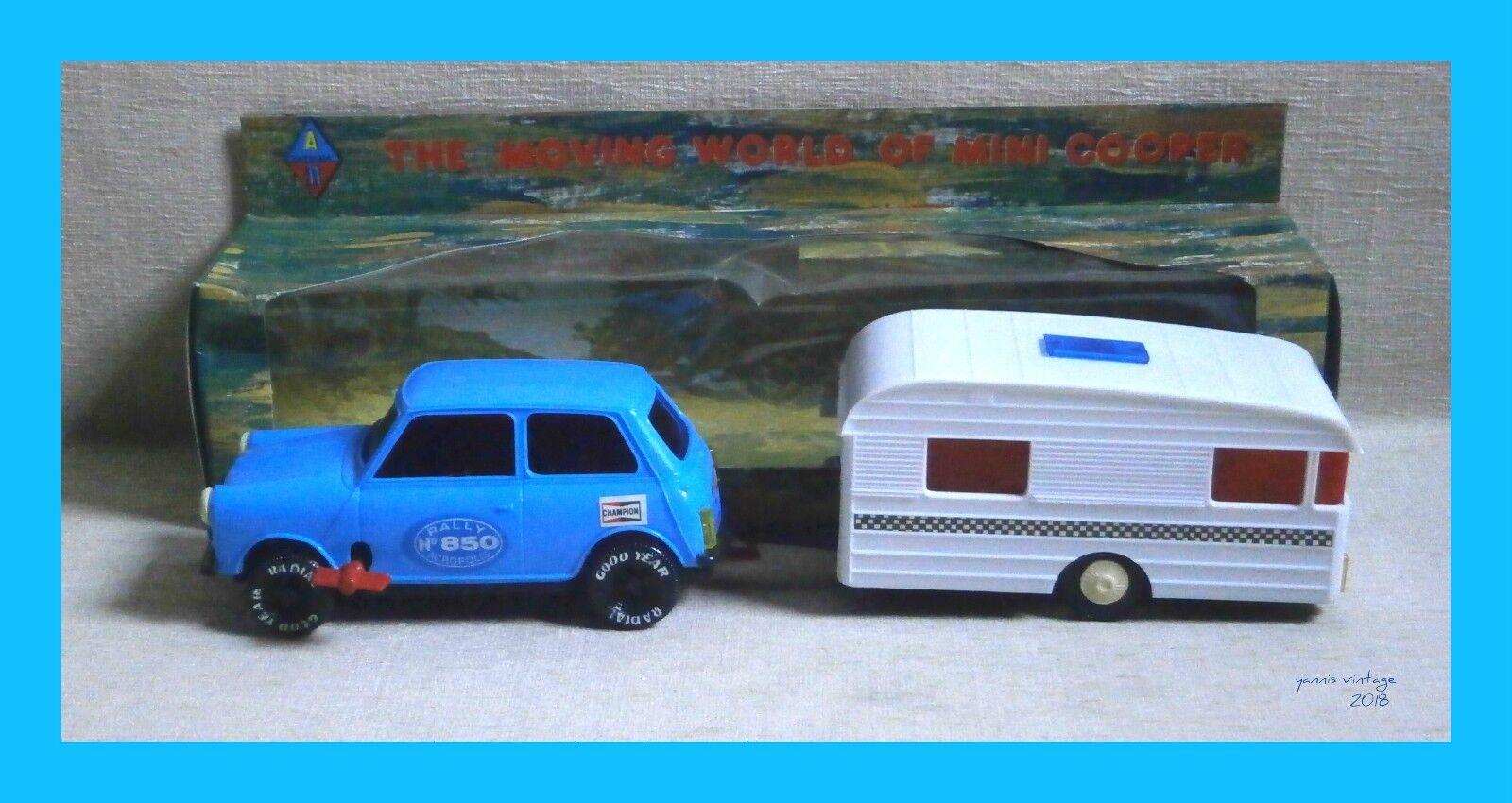 Mini Cooper & Caravan   NIB Wind Up Made in Greece Pappas Bros bluee Greek VTG