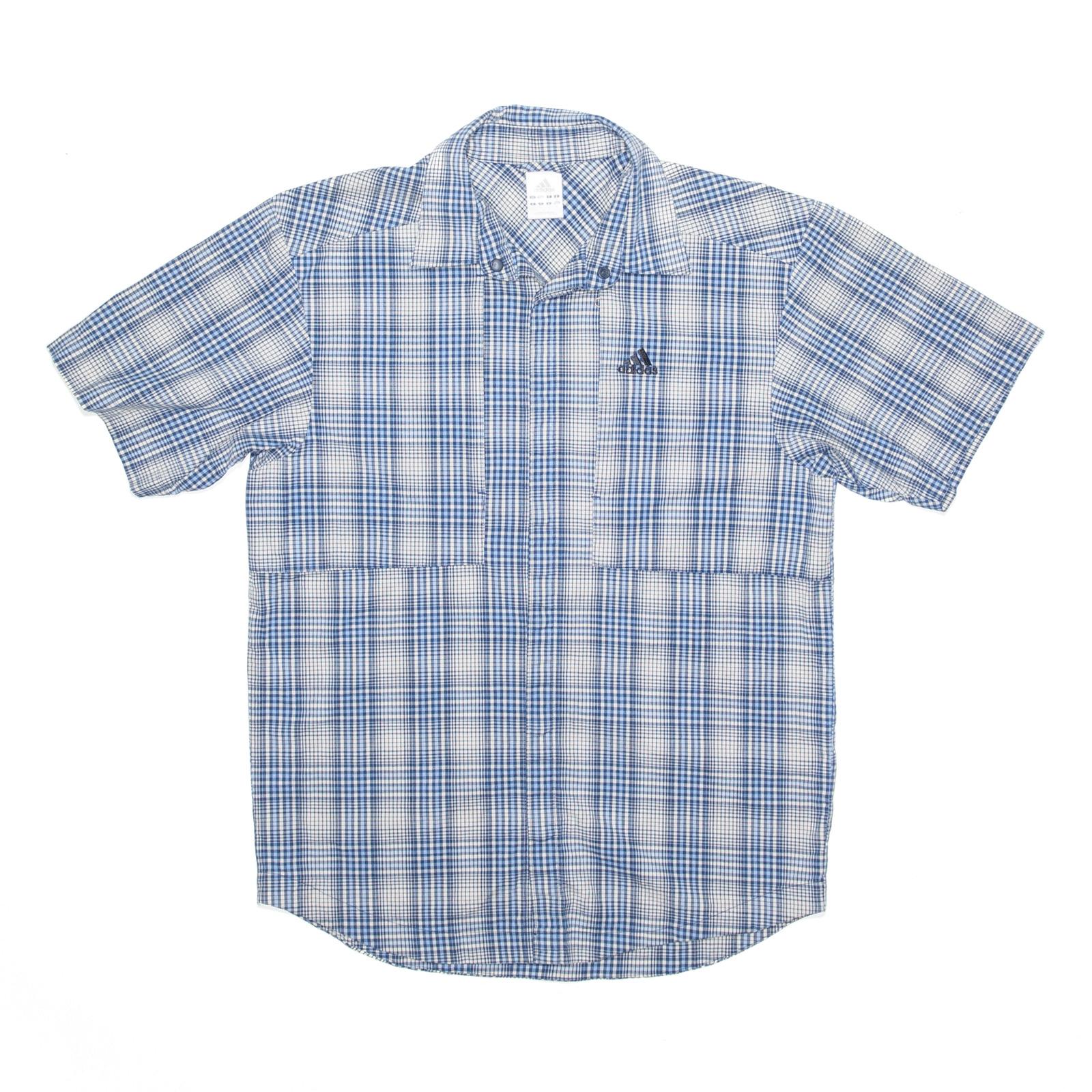 ADIDAS Blue Checked Short Sleeve Shirt Mens S
