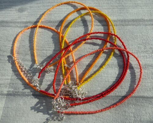 Adjustable Seed Bead Anklet Bracelet Red Orange Festival Boho Summer Hippy Love