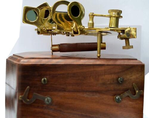 New Marine Sextant W// Wooden Box Nautical Boat Sailing Sea Navigation Instrument
