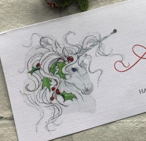 Personalised Handmade Argent//bon//Carte Cadeau Portefeuille Noël Licorne