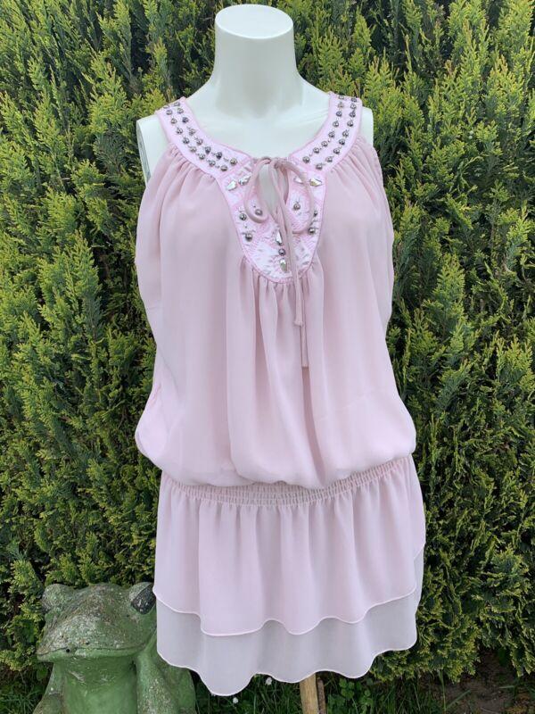 Tunika Kleid Minikleid SchnÜrung Perlen Blouson Zartrosa Gummibund Seide Gr. 36 Elegant Im Stil