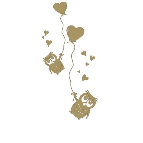 Wandtattoo Süße Eulen mit Herzluftballons für das Kinderzimmer von DESIGNSCAPE®