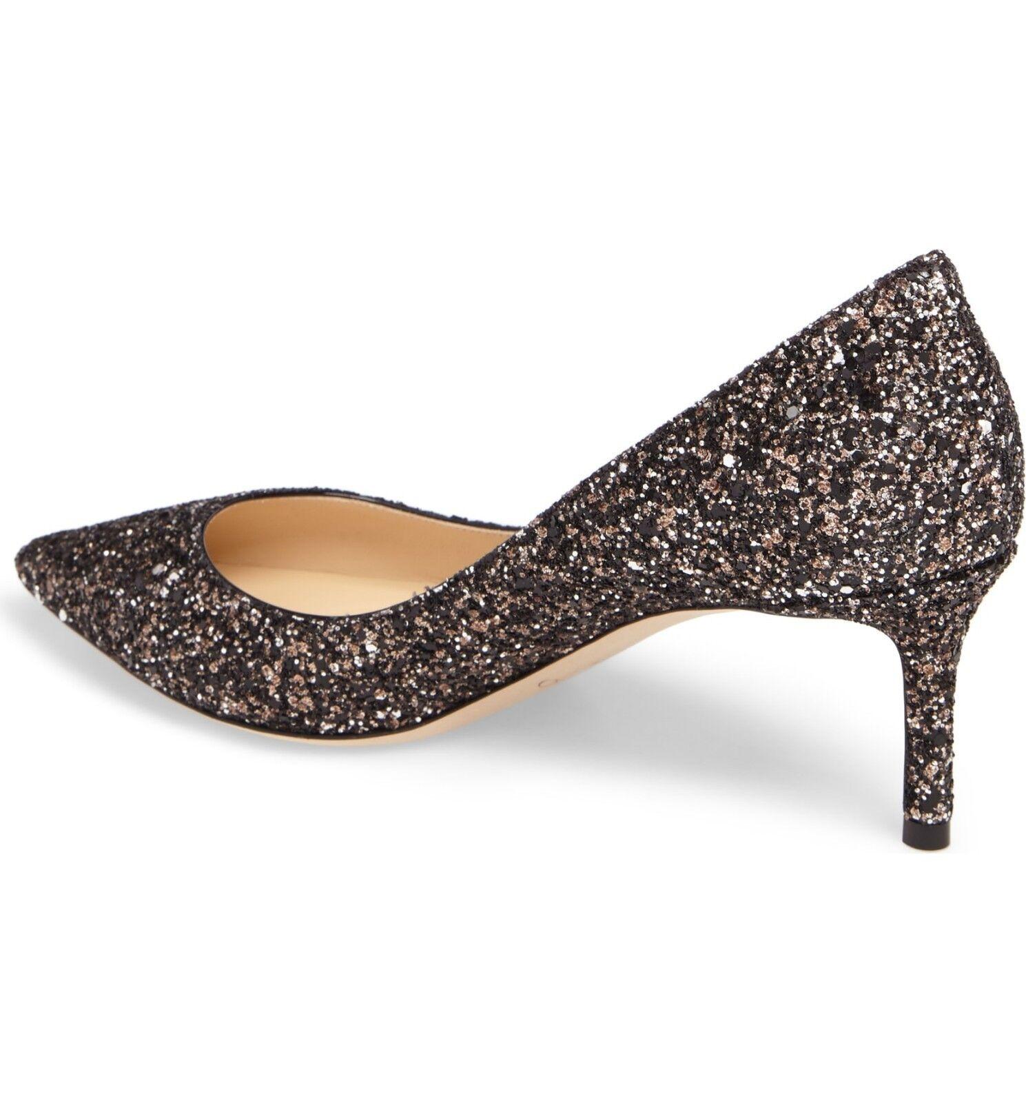 NIB Jimmy Choo ROMY Pointy Toe Pump Heel Heel Heel shoes Crackly Glitter Mix Bronze 38-7.5 738ca4