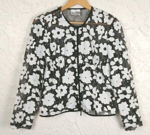 Joseph-Ribkoff-Womens-Size-10-Floral-Black-White-Sheer-Zip-Jacket
