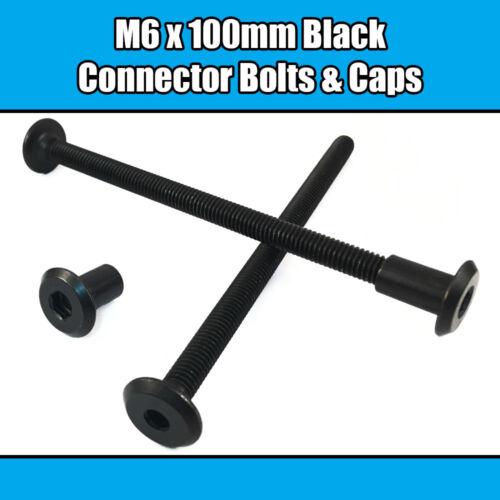 M6 x 100 mm NOIR meuble Connecteur Boulons avec Ecrous borgnes joint fixation lit bébé